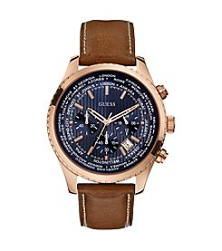 GUESS Men's Brown, Blue and Rose Goldtone Leading Sport Watch