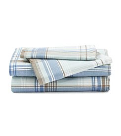 LivingQuarters Heavy-Weight Flannel Sheet Set - Blue Plaid