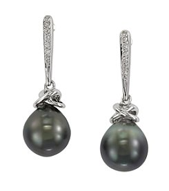 Effy® Tahitian Pearl & 0.07 ct. t.w. Diamond Earrings in 14K White Gold