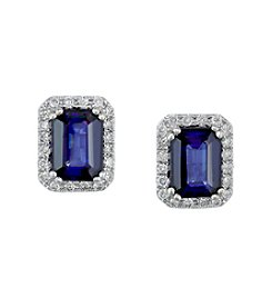 Effy® Manufactured Diffused Sapphire & 0.25 ct. t.w. Diamond Earrings in 14K White Gold