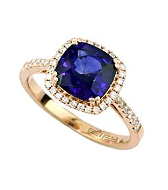 Effy® Manufactured Diffused Sapphire & 0.25 ct. t.w. Diamond Ring in 14K Rose Gold