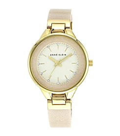 Anne Klein® Goldtone Glitter Bangle Bracelet Watch