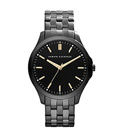 A|X Armani Exchange Black IP Watch With Goldtone Accents