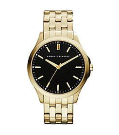 A|X Armani Exchange Goldtone Watch with Black Dial