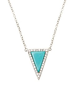 Dyed Turquoise Color Arrow with Cubic Zirconia Accents Pendant on Sterling Silver Chain Necklace