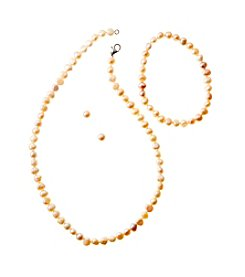 Genuine Cultured Freshwater Pearl Set of Earrings, Bracelet & Necklace