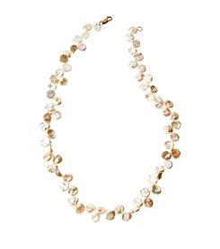 Genuine Freshwater Keshi Pearl Necklace with Gold Plated Sterling Silver Clasp