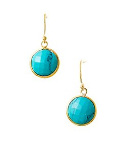 Genuine Dyed Turquoise Round Bezel Earrings with Gold Plated Sterling Silver