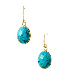 Genuine Dyed Turquoise Oval Bezel Earrings with Gold Plated Sterling Silver