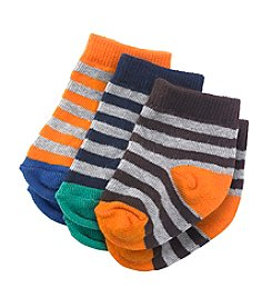 Cuddle Bear® Baby Boys' 3-Pack Striped Crew Socks