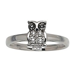 0.03 ct. t.w. Black White Diamond Owl Ring in Sterling Silver