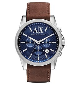 A|X Armani Exchange Stainless Steel Watch with Blue Dial and Brown Leather Strap