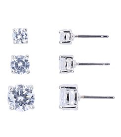 Nine West® Trio Set of Cubic Zirconia Post Pierced Stud Earrings
