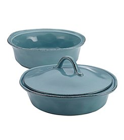Rachael Ray® Cucina Stoneware 3-pc. Agave Blue Round Casserole & Lid Set