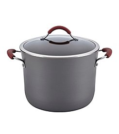Rachael Ray® Cucina 10-qt. Gray with Cranberry Red Handles Hard-Anodized Nonstick Covered Stockpot