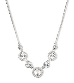 Givenchy® Silvertone/Crystal Frontal Necklace