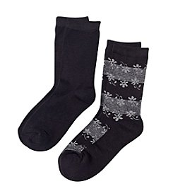 Relativity® Rayon From Bamboo 2 Pk. Crew Socks - Black