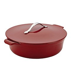 Anolon® Vesta Cast Iron Cookware 5-qt. Paprika Red Round Covered Braiser
