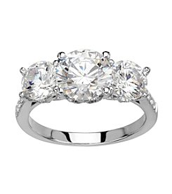 Balentino® Three Stone Round Cubic Zirconia Ring in Sterling Silver