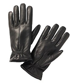 Isotoner® Signature Men's Leather Gloves with Partial Gather