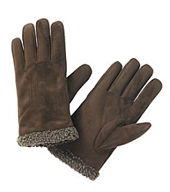 Isotoner® Signature Men's smarTouch® Faux Suede Gloves with Berber Spill