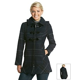 GUESS Plaid Hooded Coat