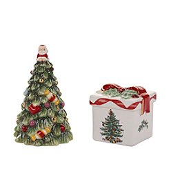 Spode® Christmas Tree Gold Figural Tree And Gift Box Salt & Pepper Set