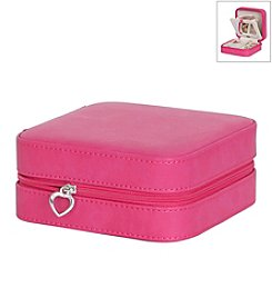 Mele & Co. Josette Travel Jewelry Case in Faux Leather in Magenta