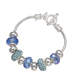 Napier® Boxed Silvertone Blue Beaded Slider Bracelet