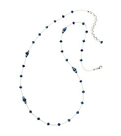 BT-Jeweled Blue Faceted Long Tin Cup Necklace