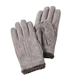 Isotoner® Signature Men's Smartouch Faux Suede Gloves with Berber Spill