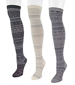 MUK LUKS Women's 3-pack Microfiber Over the Knee Socks