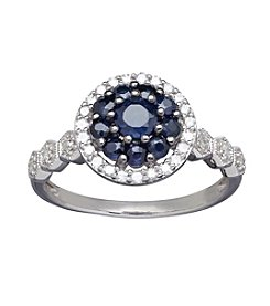 Sapphire and 0.20 ct. t.w. Diamond Ring in 10K White Gold