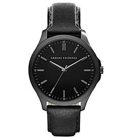 A|X Armani Exchange Black IP Dial Watch with Leather Straps