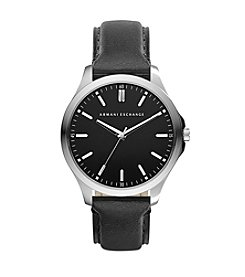 A|X Armani Exchange Silvertone Watch with Leather Straps and Black Dial