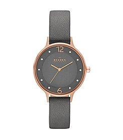 Skagen Women's Anita Watch in Rose Goldtone with Gray Leather Strap and Dial