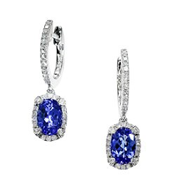 Effy® Tanzanite and .26 ct. t.w. Diamond Earrings in 14K White Gold