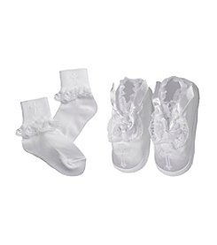 Lauren Madison® Baby Girls' Sock & Satin Shoe Set