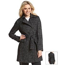 Calvin Klein Zip Belted Notch Collar Trench Walker