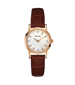 Bulova® Women's Rose Goldtone Case and Brown Leather Strap Watch
