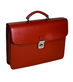 Royce® Leather Executive Saffiano Single Gusset Laptop Briefcase