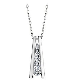Designs by FMC Sterling Silver CZ Ladder Pendant 18