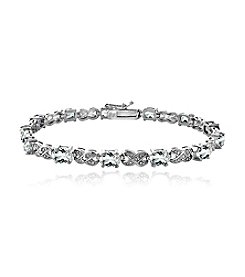 Designs by FMC Silver-Plated Diamond Accent Bracelet with 12 Genuine White Topaz Gemstones