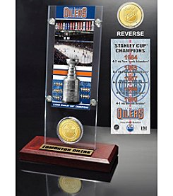 NHL® Edmonton Oilers 5-Time Stanley Cup Champions Ticket and Bronze Coin Desktop Acrylic