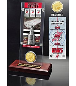 NHL® New Jersey Devils 3-Time Stanley Cup Champions Ticket and Bronze Coin Desktop Acrylic