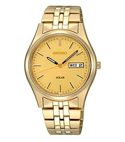 Seiko® Men's Goldtone Dial Solar Calendar Watch