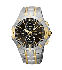Seiko® Men's Courtura Two-Tone Solar Alarm Chronograph Watch