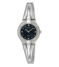 Seiko® Women's Silvertone Crystal Bezel Solar Watch