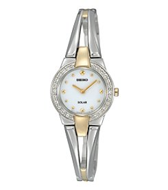 Seiko® Women's Two Tone Crystal Bezel Solar Watch