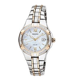 Seiko® Women's Two Tone White Dial Diamond Bezel Dress Watch